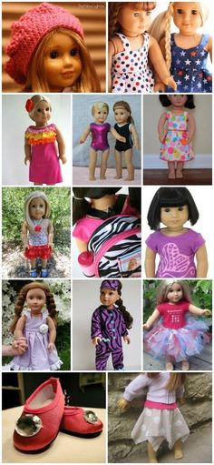 Crochet Dolls Clothes 80 Free American Girl Doll Clothes Patterns - How to make American Girl doll clothes - a complete guide to free American Girl patterns to make your own clothes for dolls. Is your daughter madly in love with American Girl dolls or Sewing Doll Clothes, Crochet Doll Clothes, Sewing Dolls, Girl Doll Clothes, Girl Dolls, Ag Dolls, Barbie Clothes, Crochet Dolls, Barbie Dress
