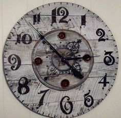 """28"""" clock  cable spool center and pallet wood. made by rose"""