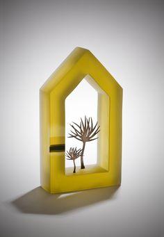 Mikyoung Jung -- whimsical integration of kiln formed glass and metal trees Kiln Formed Glass, Sandblasted Glass, Wine Bottle Art, Shape Art, Ceramic Houses, Metal Tree, Miniature Houses, Art Plastique, Little Houses