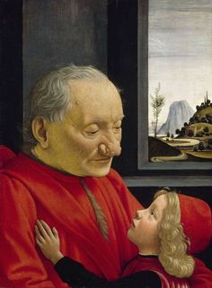Domenico Ghirlandaio - Portrait of an Old Man with his Grandson, 1490 Renaissance Artworks, Italian Renaissance Art, Renaissance Portraits, Renaissance Era, Michelangelo, Great Works Of Art, Perspective, In Cosmetics, Italian Art