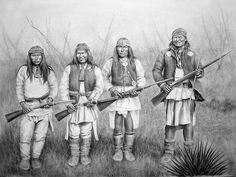 Geronimo and three of his warriors during their conference with General Crook in the Sierra Madre Mountains, March 1886 - Native American