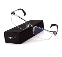 b12dd4bffe5d Agstum Pure Titanium Mens Half Rim Bussiness Eyeglasses Frames Optical  Clear Lens Rx