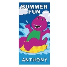 The Official PBS KIDS Shop   Barney Summer Fun Microfiber Beach Towel - Personalized Summer Gifts - Holiday & Seasonal