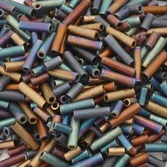 Seed Beads-3/4mm Bugle-04 Flat Iron-Miyuki-14 Grams
