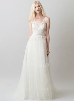Wedding Dresses - $169.08 - A-Line/Princess V-neck Sweep Train Tulle Lace Wedding Dress With Appliques Lace (0025119895)