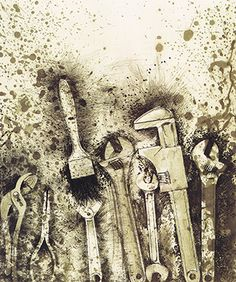 Jim Dine, tools, interesting splattering marks which make the image seem more lively and exciting Jim Dine, Pop Art, Cincinnati, A Level Art Sketchbook, Memento, Observational Drawing, Mechanical Art, Still Life Drawing, Everyday Objects