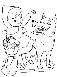 best red riding hood cartoon coloring pages for kids Cartoon Coloring Pages, Coloring Book Pages, Coloring Pages For Kids, Little Pigs, Little Red, Drawing For Kids, Art For Kids, My Little Pony Coloring, Red Riding Hood