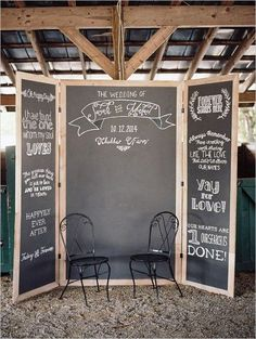 Photo Booth Ideas Chalkboard backdrop with name and date
