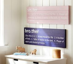 Not sure if its a boy this time but too cute ! love a brother and sister one in the play room.... DIY Pottery Barn Knockoff Brother & Sister Signs