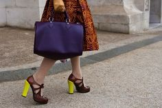 Block coloured neon heels makes for a cheeky surprise.