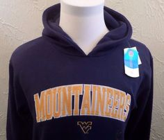 West Virginia Mountaineers Majestic Hoodie Embroidered Letters Men's Medium NWT #MajesticSection101 #WestVirginia
