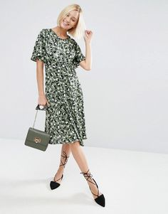 ASOS+Midi+Tea+Dress+in+Animal+Print