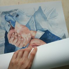 Packing of a big watercolor in a tube