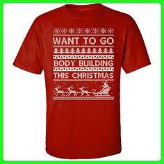 Want To Go Body Building This Christmas Hobbies Ugly Sweater - Adult Shirt M Red - Holiday and seasonal shirts (*Amazon Partner-Link)