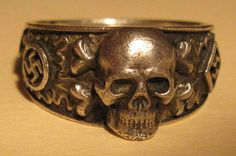 The SS are apparently a big fan of rings, as this is just one of many that were awarded to SS members. Notice how the skull and crossbones are bigger than the swastika emblems.