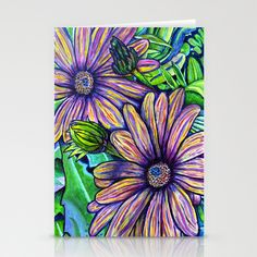 Purple Daisies Stationery Cards by Morgan Ralston - $12.00