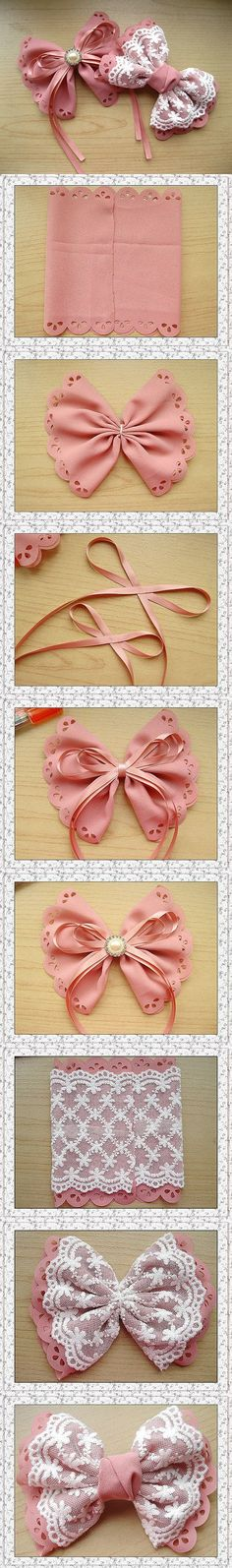 cute DIY bow tutorial - need to try this with SugarVeil On a headband or as a hair clip Cute Crafts, Diy And Crafts, Arts And Crafts, Summer Crafts, Fall Crafts, Diy Hair Accessories, Handmade Accessories, Crafty Craft, Crafting