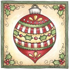 Laurie Furnell - Christmas image in green and red frame