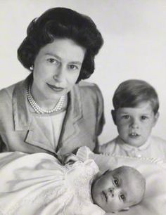 The Queen with Prince Andrew and baby Prince Edward.