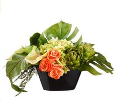 Tropical Flower Arrangment with Anthirium, Artichokes and Roses -ARWF1254
