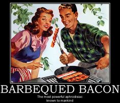 Shop Retro Bacon Barbeque Poster created by AtomicArtworks. Barbacoa, Pyrex, Bacon Funny, Bacon Bacon, Bacon Bits, French Lentils, Cooking Bacon, What's Cooking, 1950s