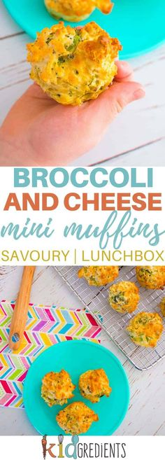 broccoli and cheese mini muffins a savoury muffin perfect for the lunchbox. Easy to make and super kidfriendly freezer friendly too! Savory Muffins, Mini Muffins, Savory Snacks, Breakfast Muffins, Cheese Muffins, Breakfast Potatoes, Kids Cooking Recipes, Baby Food Recipes, Kids Meals