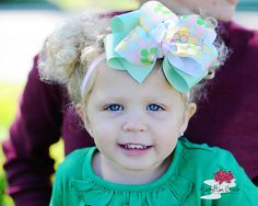 Sea Foam Double Boutique Bow with Flower   by SparklingTwinkies, $7.95