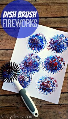 Have your kids make a fireworks craft using a dish brush from the kitchen! All you need is paint and a piece of paper to make this 4th of july art project.