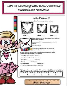 Measurement activities: On party day, use those valentine cards for some super-fun measurement activities. Independent worksheets, plus a partner activity too. Measurement Activities, Math Activities, Valentines Art, Valentine Cards, Math Literacy, Valentines Day Activities, Stress Free, Something To Do, Worksheets