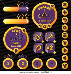 Golden stylish game interface woth level completion. boosters, buttons and loading pannel - stock vector