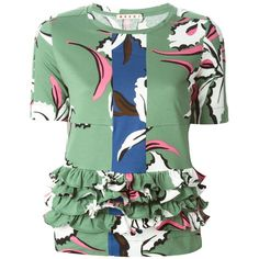 Marni floral print T-shirt featuring polyvore fashion clothing tops t-shirts green floral t shirt cotton tee layering tees floral print tee short sleeve tees