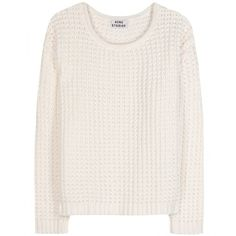 Acne Studios Sapata Grid Knit Pullover (685 BRL) ❤ liked on Polyvore featuring tops, sweaters, shirts, jumpers, white, pullover sweaters, white jumper, knit shirt, knit sweater and boxy shirt