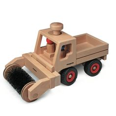 Fagus Basic Toy Truck with attached Street Sweeper from Bella Luna Toys.