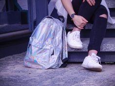Backpack #backpack #hollo #holo #holographic #rucksack #ootd #fashion #streetstyle fashionblogger #fashion #style #moda #outfits #pinkhair #blackandwhite
