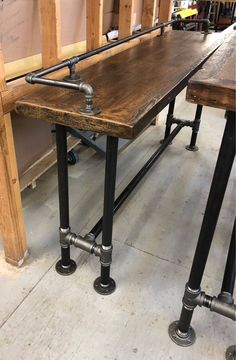 Description: Reclaimed wood console table , sofa table, entry table or media table. Stools available for sale but not included. See our listing for ordering stools. This includes drink rail. The pipe drink rail is
