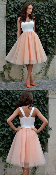 Tulle Prom Dress, Tea Length Prom Dresses, Sweetheart Homecoming Dress, Aline Homecoming Dresses,298