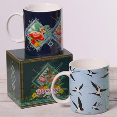 Bone China Mugs with Display Boxes - Tropical Flamingo and Swallows