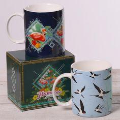 Tazas flamenco y golondrinas. Ideales para un café fuerte. #tazas #animales