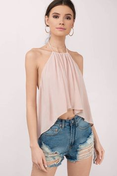 """Shop the """"Veld Rose Crepe Halter Top"""" on Tobi.com now! flowy, loos fitting halter backless open back flutter high neck cascading asymmetric hem top music festival coachella vacation beach coverup hot summer spring fashion style"""
