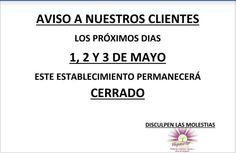 #Aviso  #Vegaestar#Córdobacerrará sus puertas los próximos 1, 2 y 3 de Mayo.  Tenéis hasta el Jueves a las 20.30 horas para realizar vuestras compras de la semana.  Aqui os esperamos!