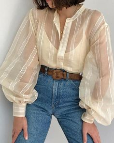 Shop Striped Sheer Lantern Sleeve Casual Shirt right now, get great deals at chiquedoll Fashion Week, Look Fashion, Korean Fashion, Fashion Design, Fashion Trends, Modest Fashion, Fashion Outfits, Womens Fashion, Fasion