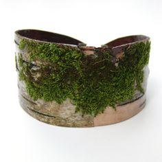 Birch bark and moss bracelet