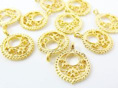 10 Mini Round Filigree Charms  22k Matte Gold by LylaSupplies, $4.50