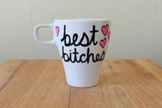 best bitches teacup funny mug mean coffee cup pink best friends bff going away present by astraychalet