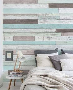 Reclaimed Painted Beach Wood Mural Wall Art peel & stick fabric wallpaper. This repositionable wallpaper is designed and made in our studios in New Jersey. The designs are printed onto an adhesive bac