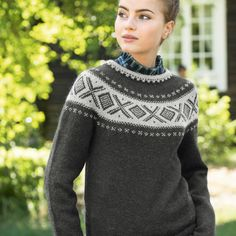 DG370-15 Dale Cortina genser - denim   Dale Garn Pullover, Denim, Knitting, Crochet, Sweaters, Fashion, Threading, Moda, Tricot