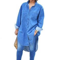 Demin Blue Jean Long Loose Shirt