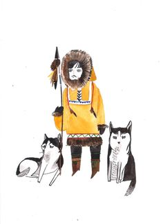 Eskimo with Huskies by DickVincent on Etsy