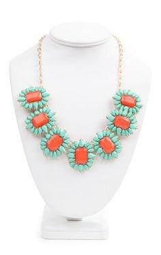 Deb Shops #Statement #Necklace with Bright Stone Bursts $14.90