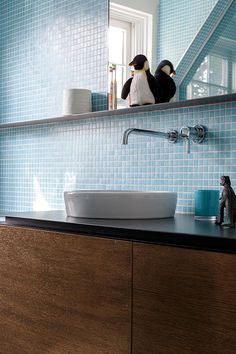 Project Image La Shed Architecture, Blue Mosaic Tile, Timber Vanity, Small Tiles, Joinery, Double Vanity, Sink, Modern, Furniture